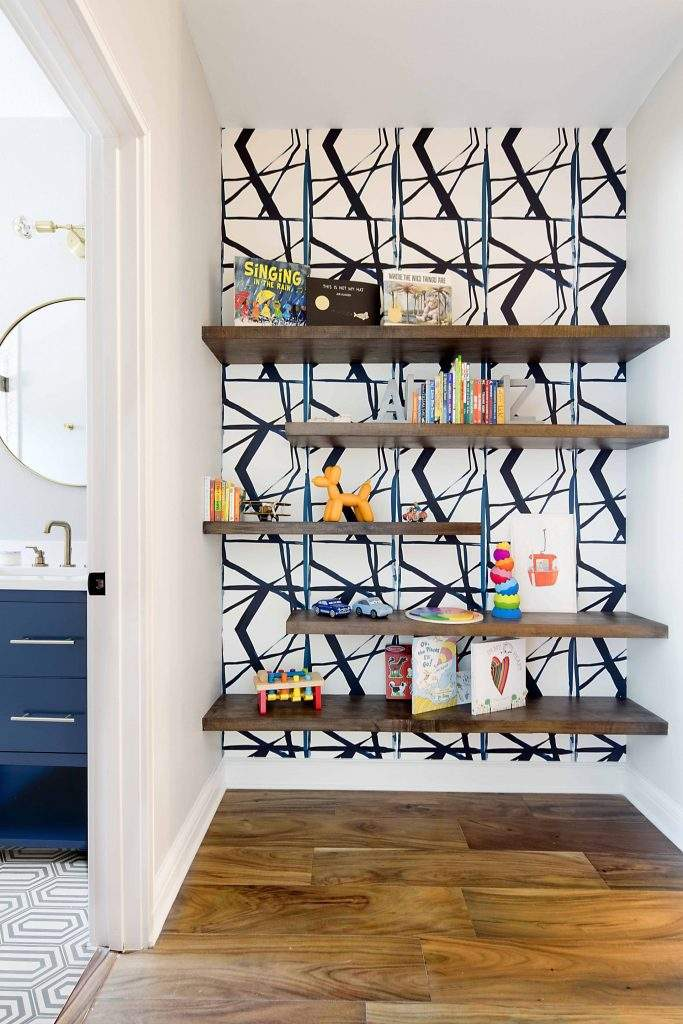 Interior Design, Floating shelves with wallpaper, Etch Interior Design, Austin, Texas