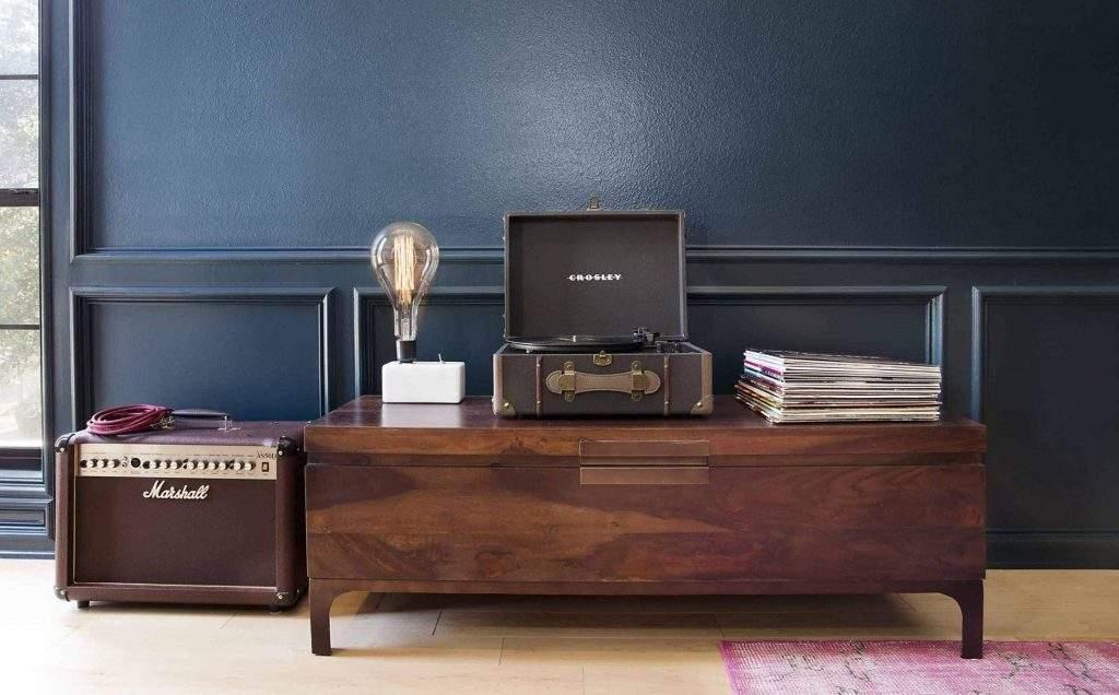 Home Interior Design, Wood Table with Dark Blue Wall, Etch Interior Design, Austin, Texas