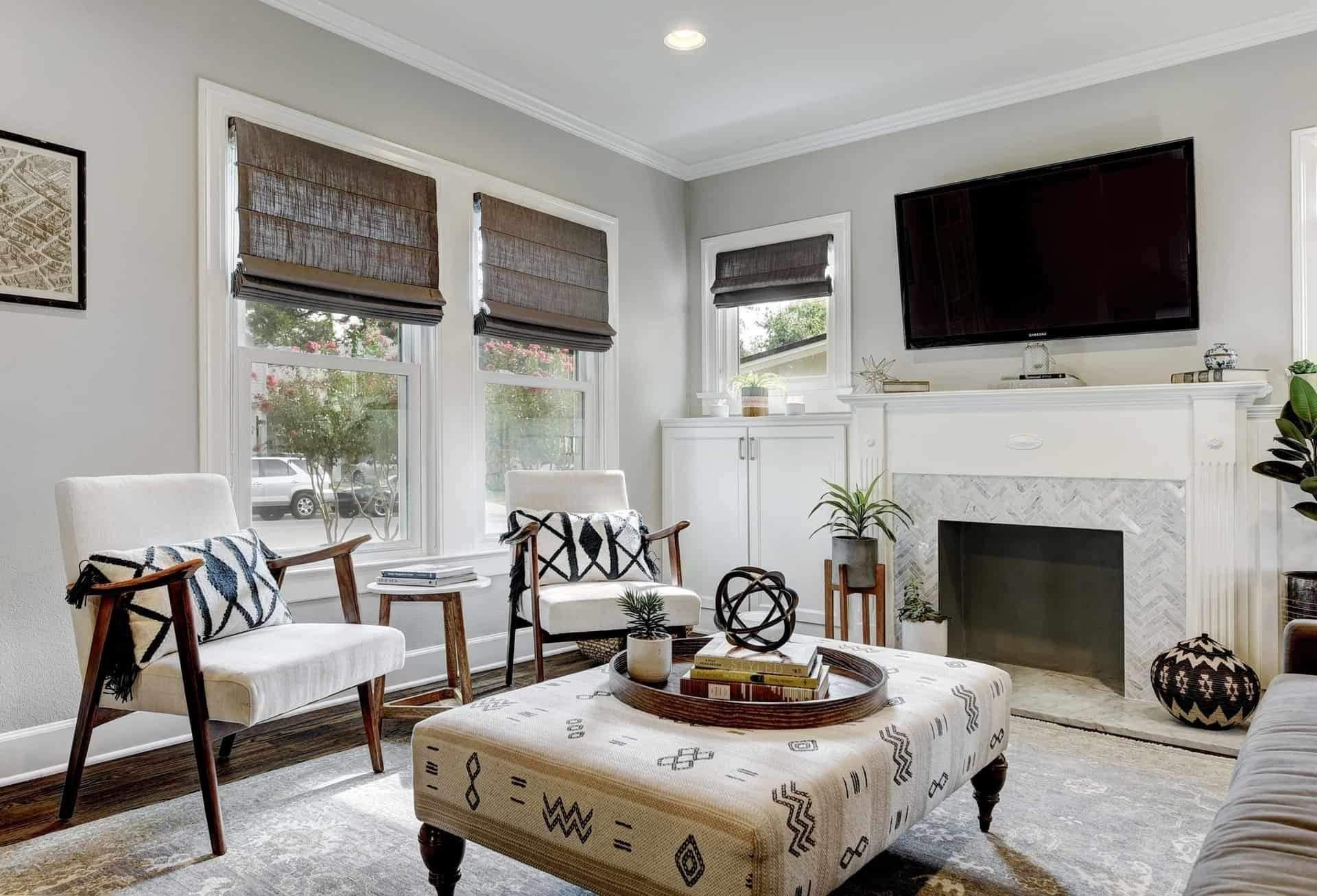 Home Interior Design, Accent Chairs with throw pillows, Etch Interior Design, Austin, Texas