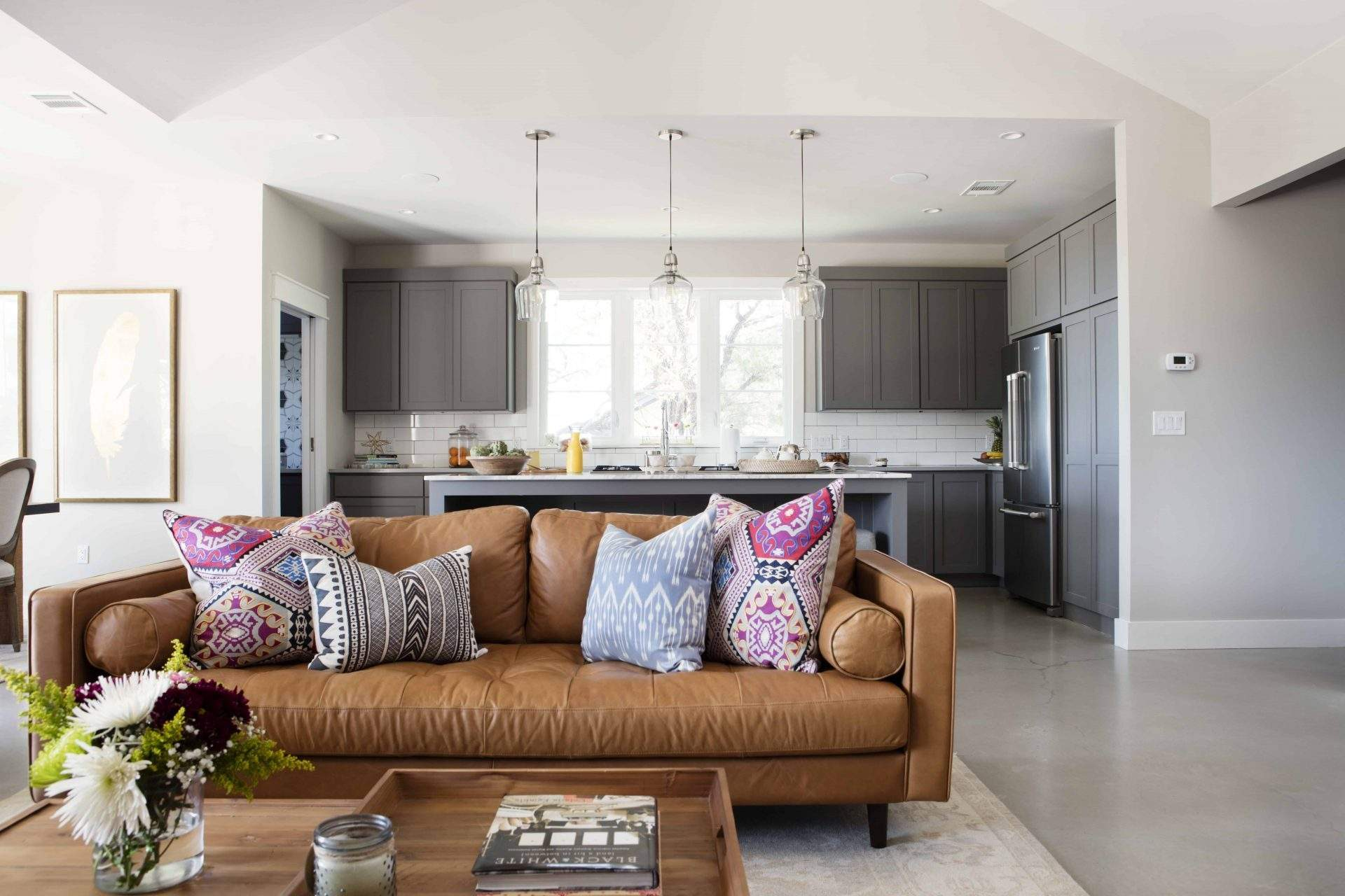 Interior Design, Tan Leather Couch with Bohemian Pillows, Etch Interior Design, Austin, Texas