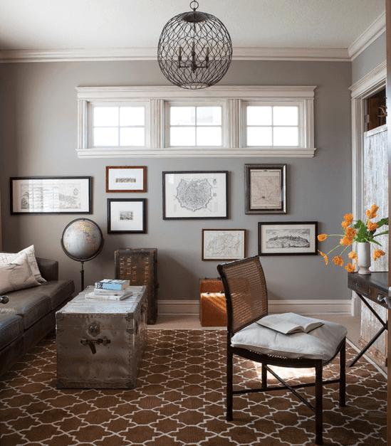 Interior Design, Living Area with art, light fixture, and high windows, Etch Interior Design, Austin, Texas