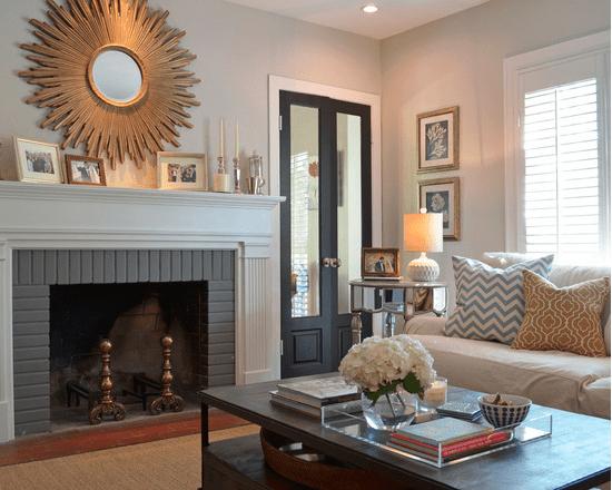 Home Interior Design, Fireplace with Gold Star Mirror, Etch Interior Design, Austin, Texas