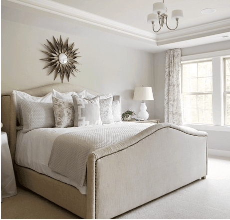 Bedroom Interior Design, Upholstered Bed with Star Mirror, Etch Interior Design, Austin, Texas