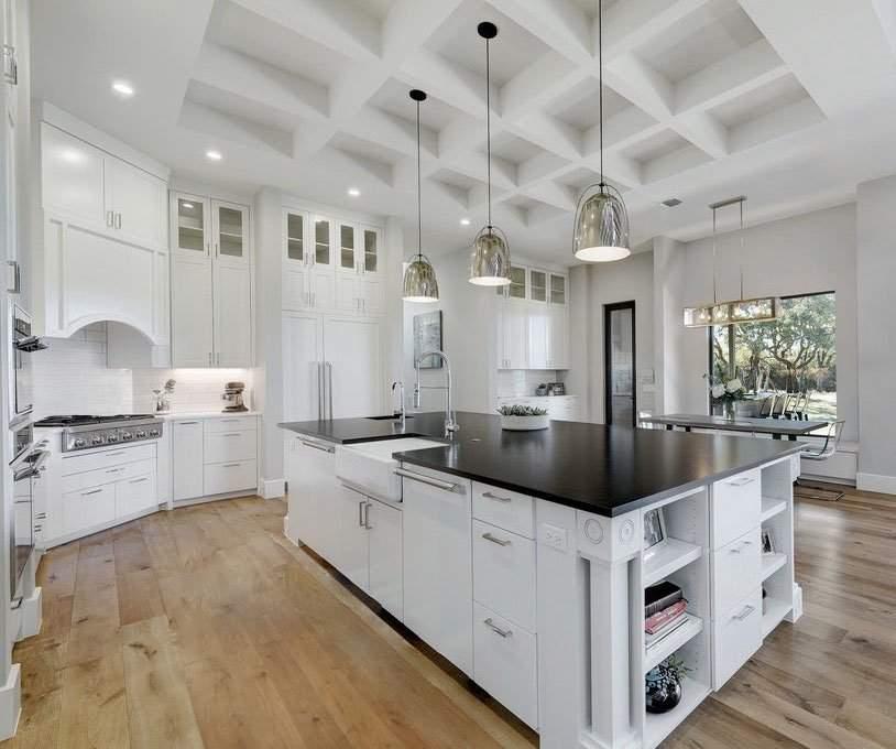 modern farmhouse interior design | kitchen with large island | austin, texas