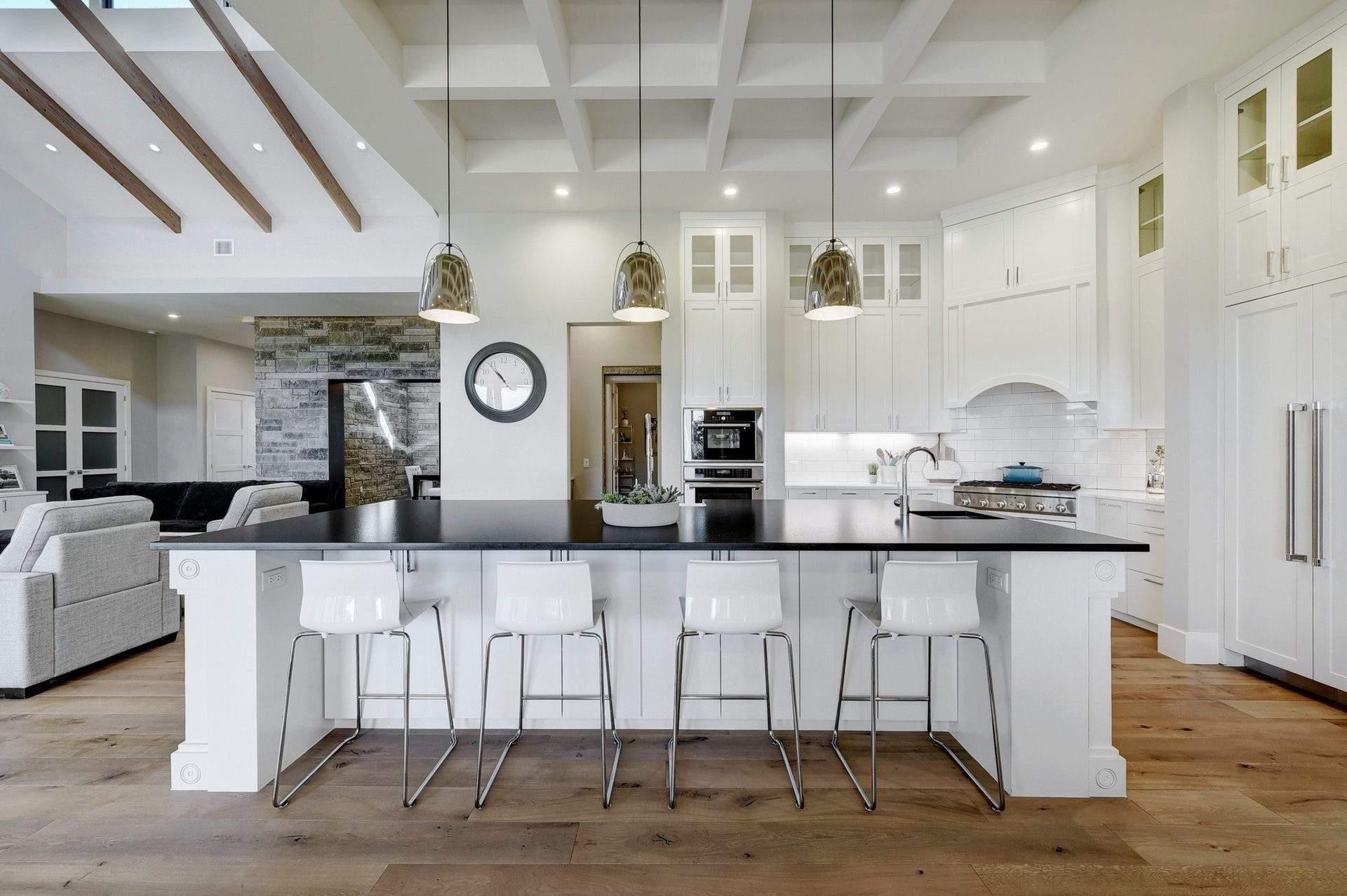 modern farmhouse interior design | large island and sitting area | austin, texas