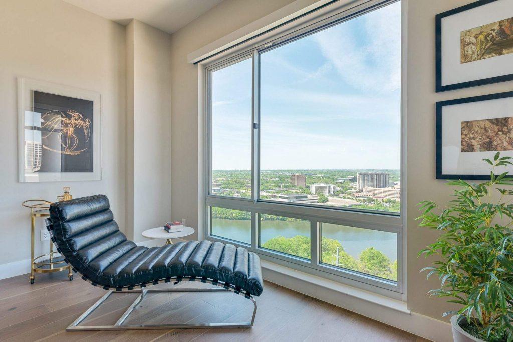 Home Interior Design, Leather Lounge Chair by window, Etch Interior Design, Austin, Texas