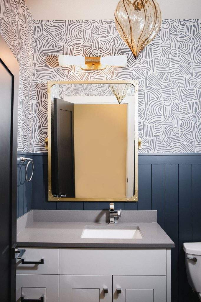 interior design remodel | white cabinet with brass mirror bathroom remodel | austin, texas