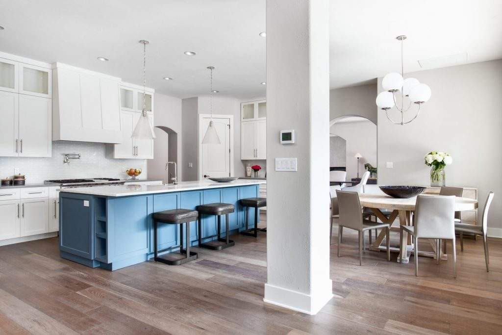 interior design remodel | kitchen remodel to sell open concept with dining and pillar | austin, texas