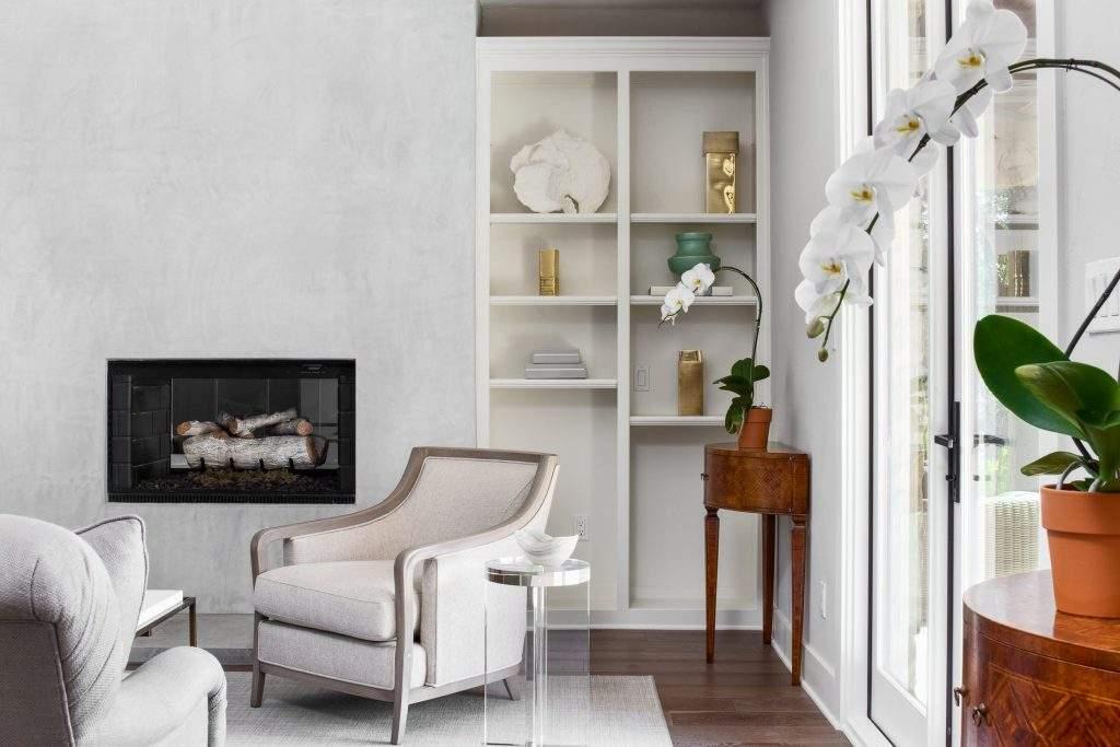 interior design austin | bookcase and fireplace | austin, texas