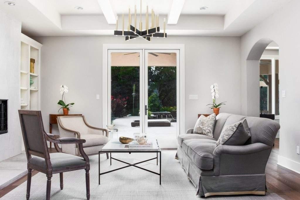 interior design austin | living room and double doors | austin, texas