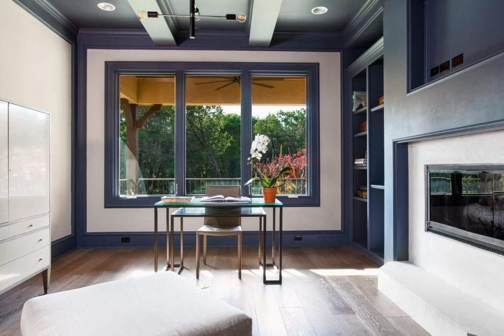 interior design austin | desk with large windows behind | austin, texas