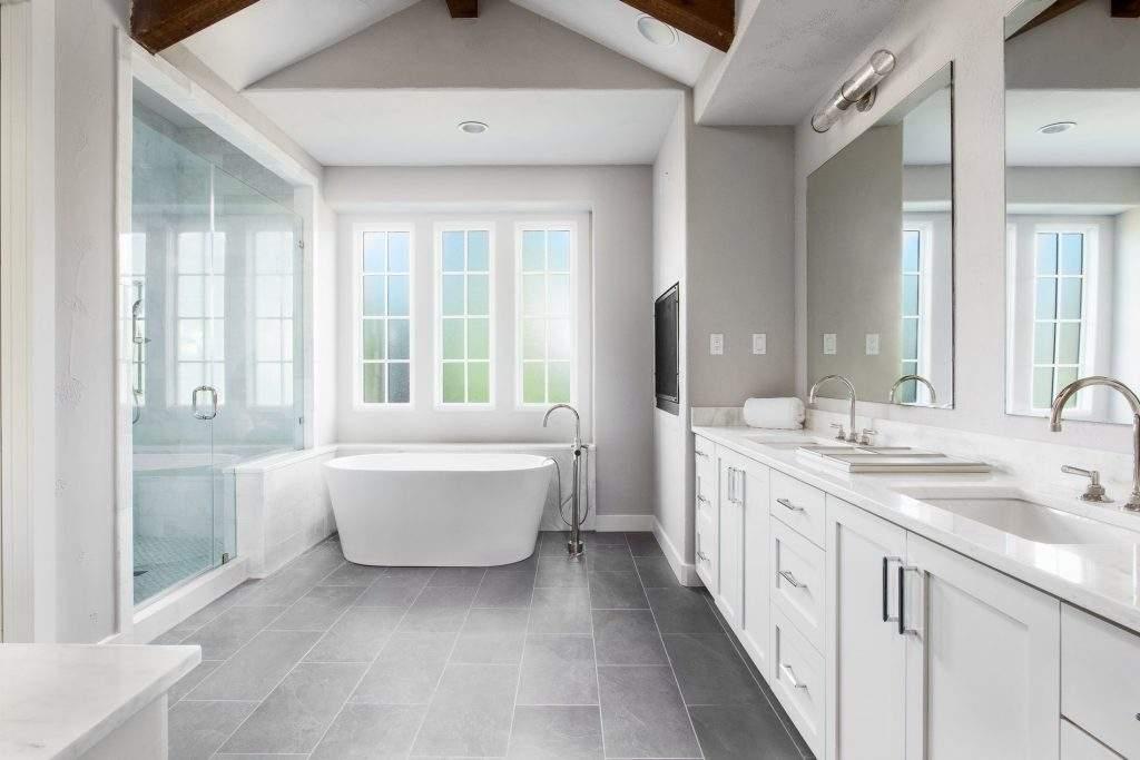 interior design austin | white bathroom with oval tub | austin, texas