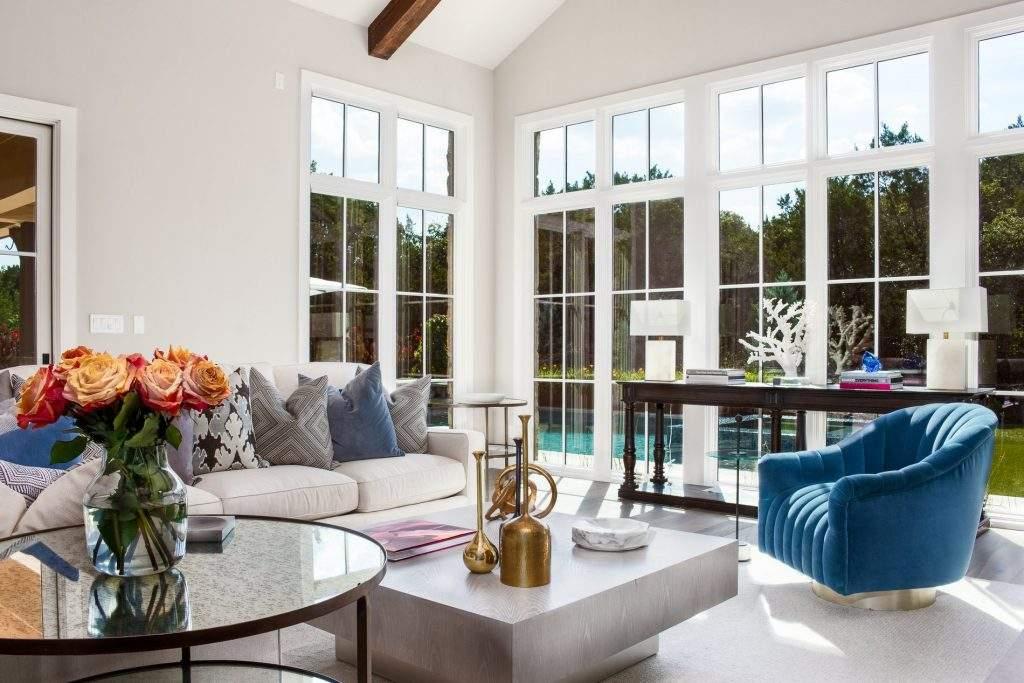 interior design austin | living room with blue chair | austin, texas