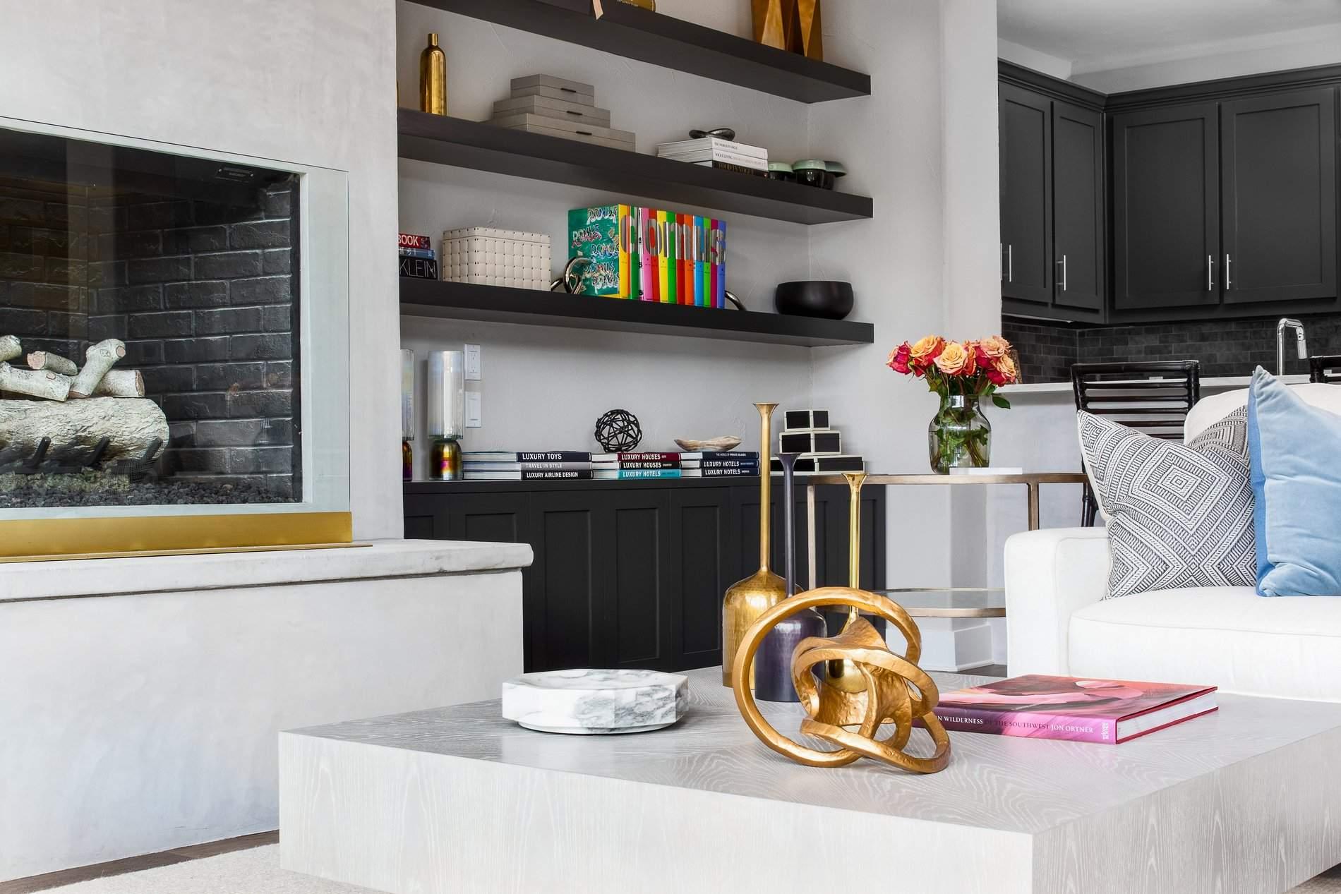 interior design austin | bookcase, coffee table and decor | austin, texas