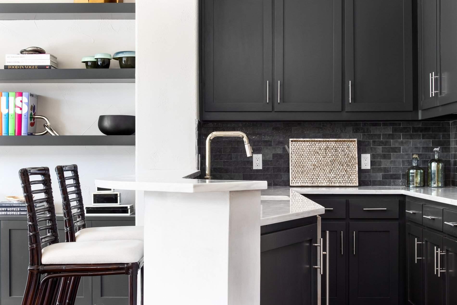 interior design austin | bar with black cabinets | austin, texas