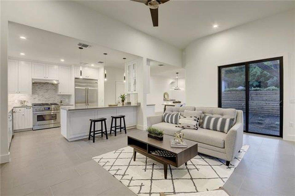 interior design remodel | seating area with kitchen | austin, texas