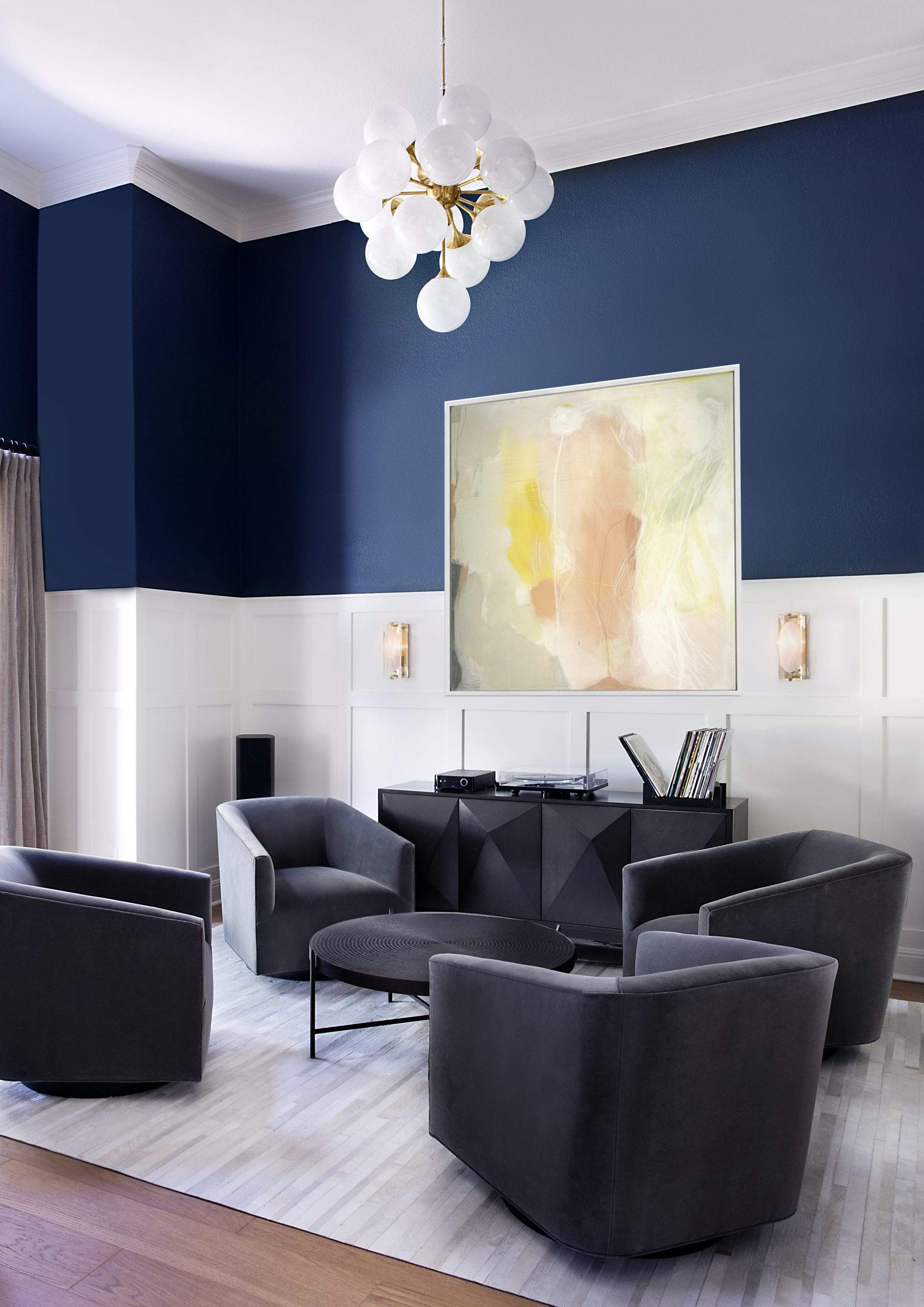 Alta Vista - Texas interior design | seating area with chandelier and art | austin, texas