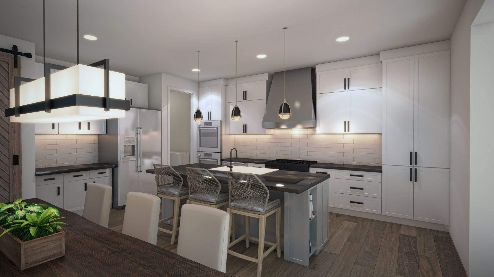 Etch Design Group - a new construction at Rabb Glen with black accents, herringbone tile flooring, quartz countertop, and grey cabinets.