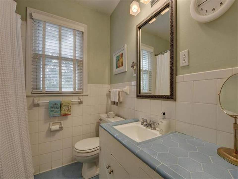home interiors Austin | bryker woods bathroom vanity and stool before| austin, texas