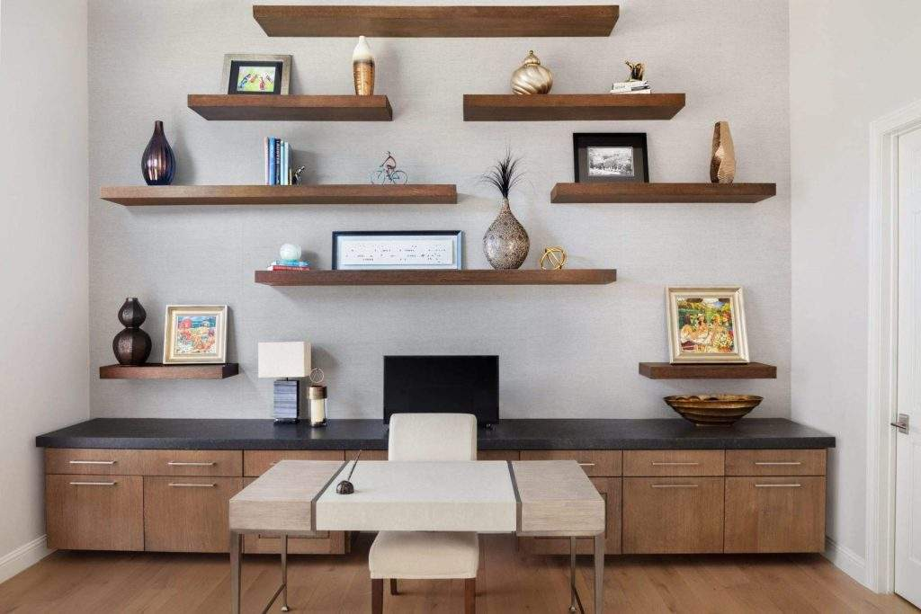 Office Interior Design, Desk with wall of floating shelves, Etch Interior Design, Austin ,Texas