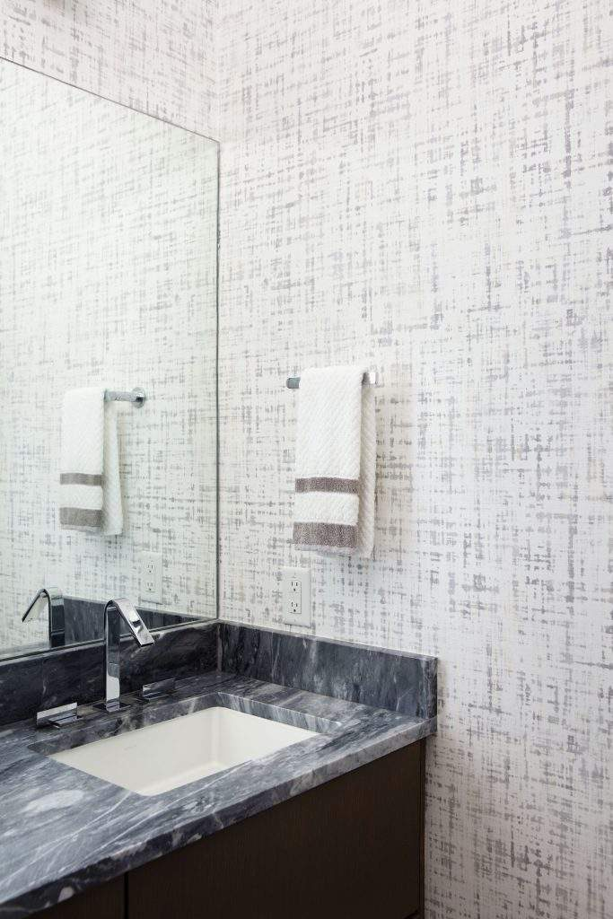travis heights | gray and white wallpaper bathroom | austin, texas