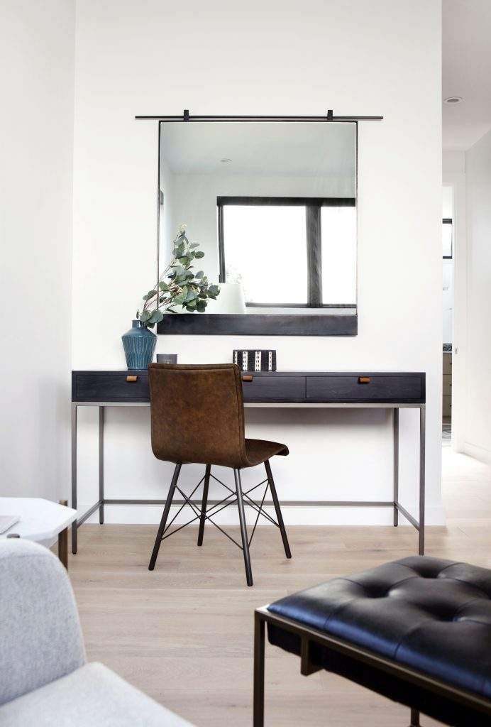 travis heights | desk, chair and mirror above | austin, texas