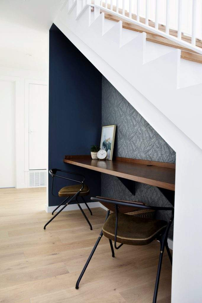 travis heights | staircase with desk built in below | austin, texas