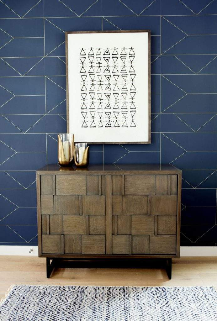 travis heights | cabinet and art work with blue geometric wallpaper| austin, texas