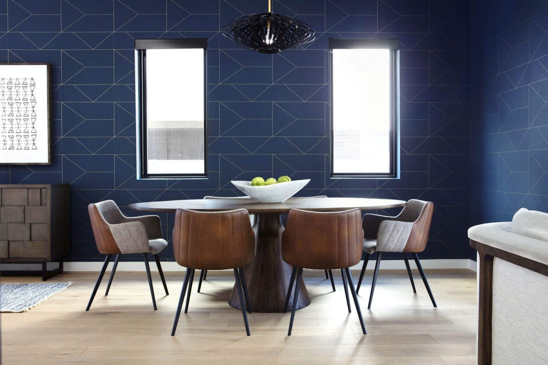 travis heights | dining area with blue geometric wallpaper| austin, texas