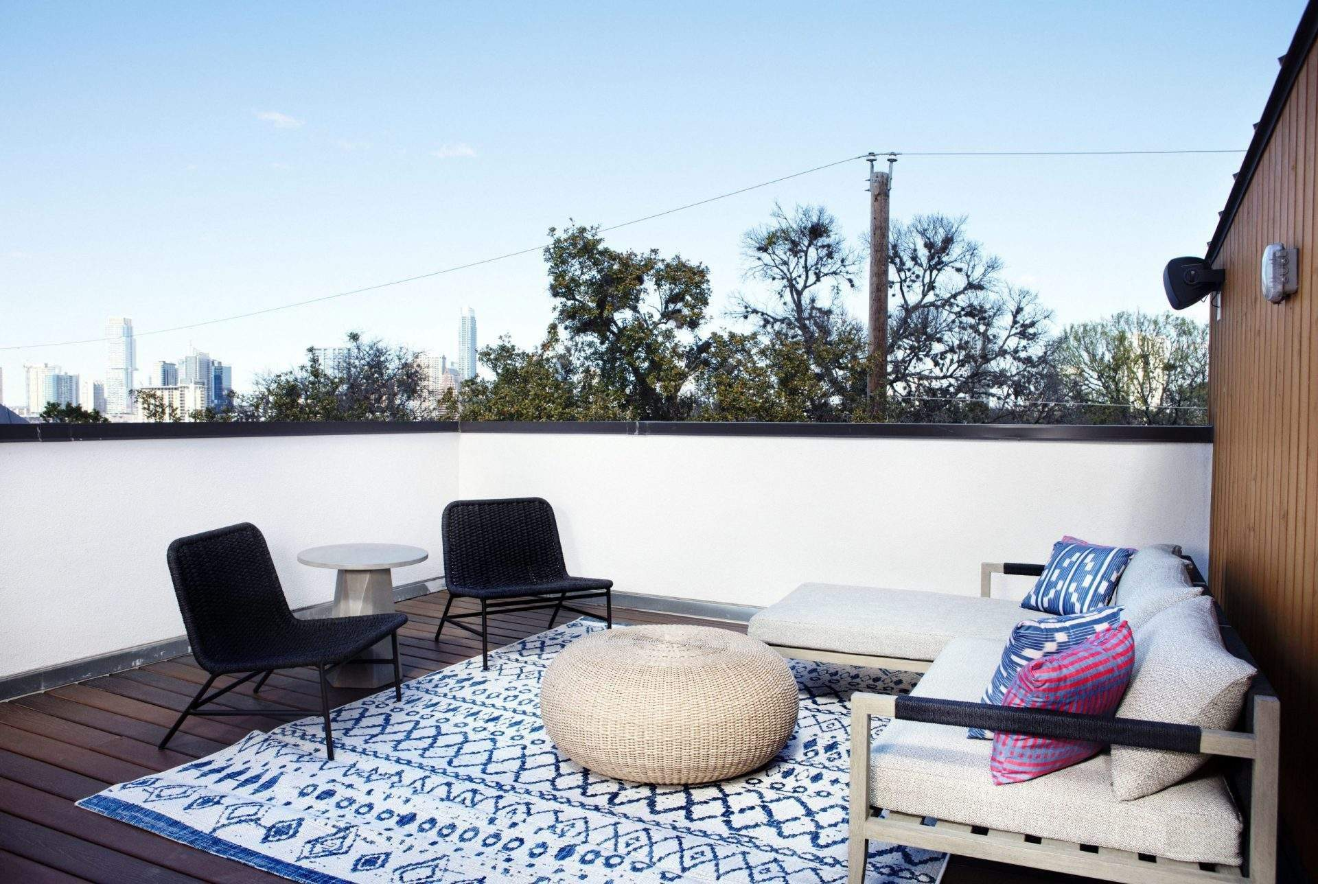 travis heights | deck with sofa and 2 chairs | austin, texas