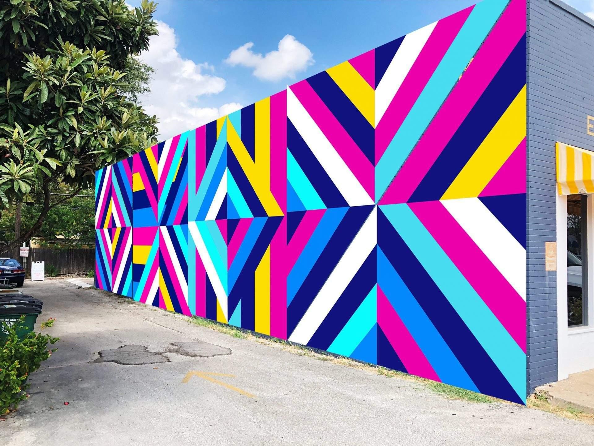 design austin | geometric mural on building | austin, texas