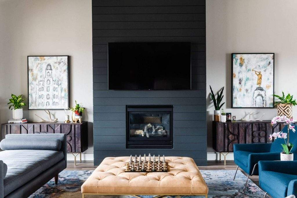Home Interior Design, Dark Fireplace with sideboards on either side, Etch Interior Design, Austin, Texas