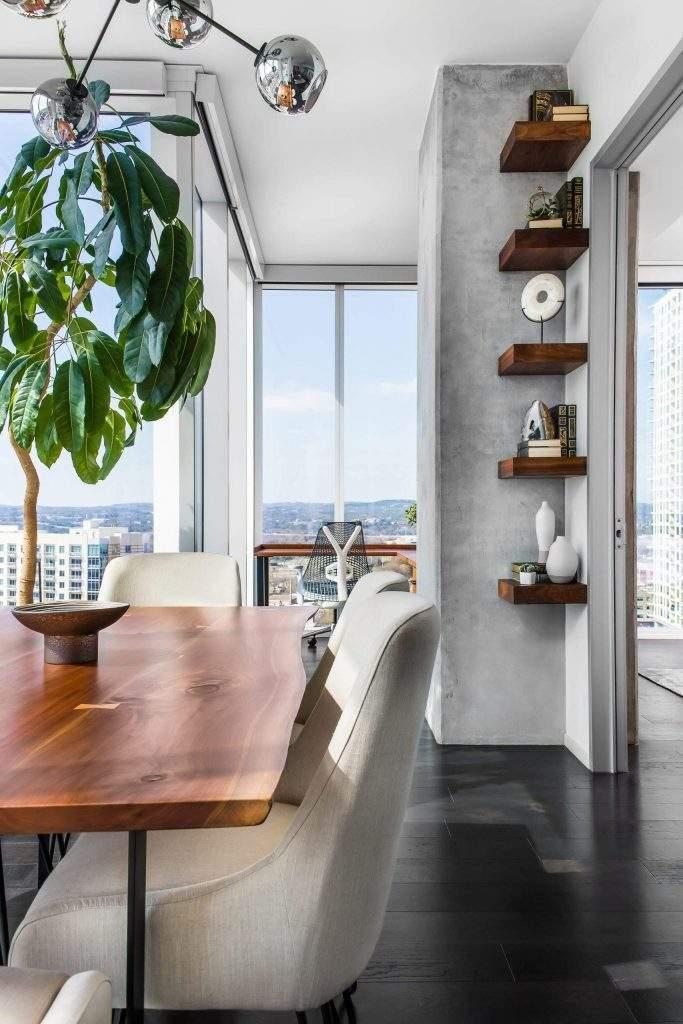 Interior Design, Dining Table with corner shelves, Etch Interior Design, Austin, Texas