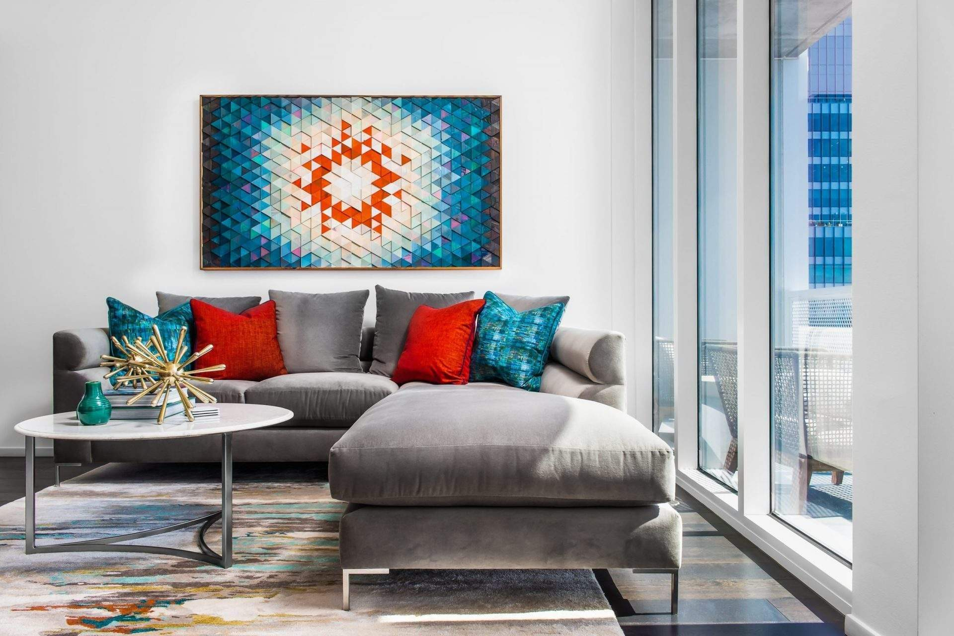Home Interior Design, Gray Sectional with blue and red pillows, Etch Interior Design, Austin, Texas
