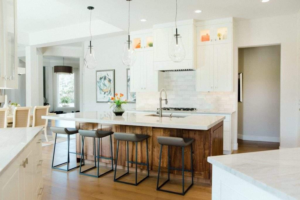 Kitchen Interior Design, Wood Island Bar with stools