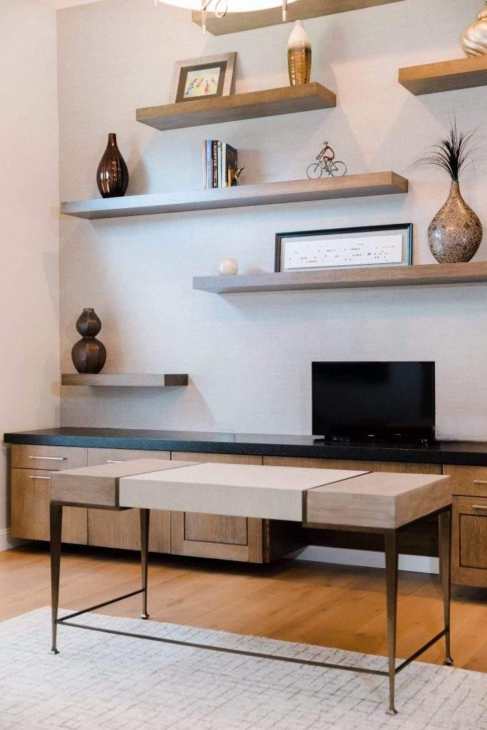 Office Interior Design, Wood Desk with floating shelves, Etch Interior Design, Austin, Texas