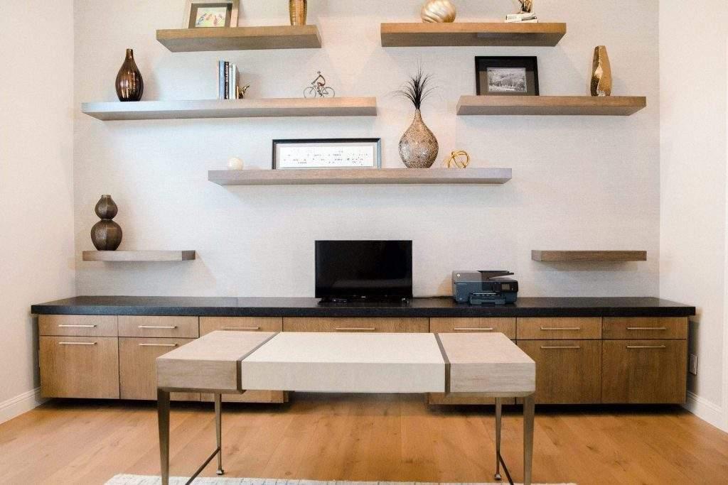 Maravillas - Austin residential interior design   dark wood cabinet with darker top and floating shelf   austin, texas