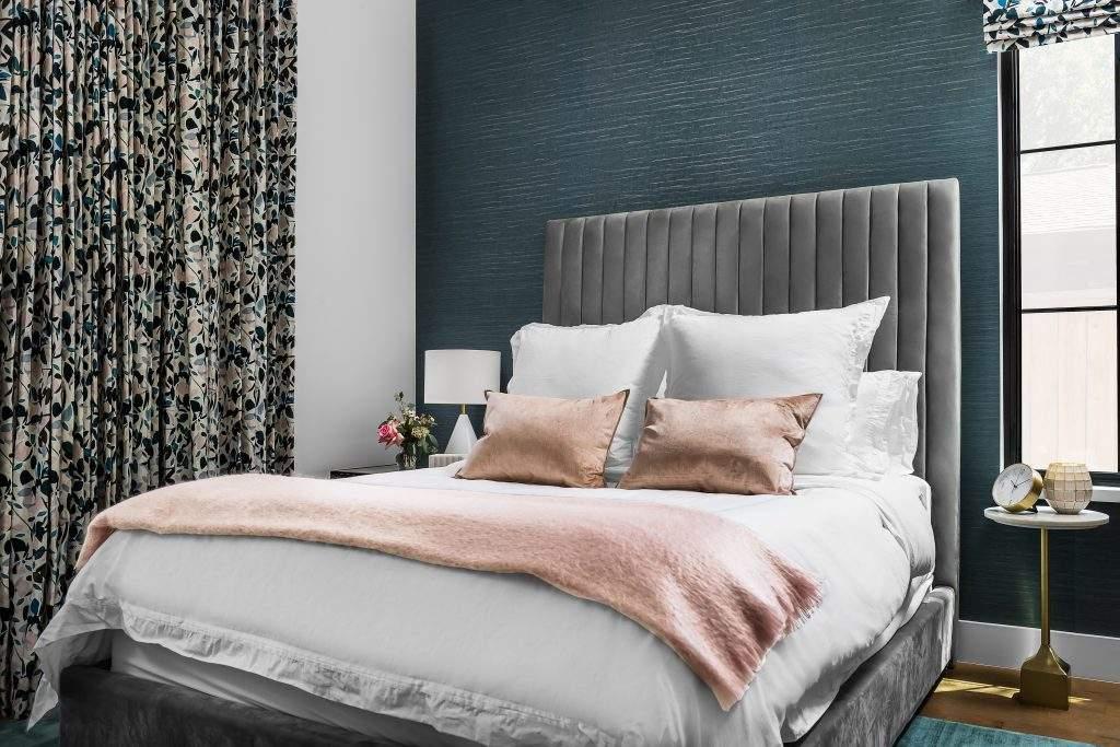 Bedroom Interior Design, Gray Upholstered Headboard, Etch Interior Design, Austin, Texas