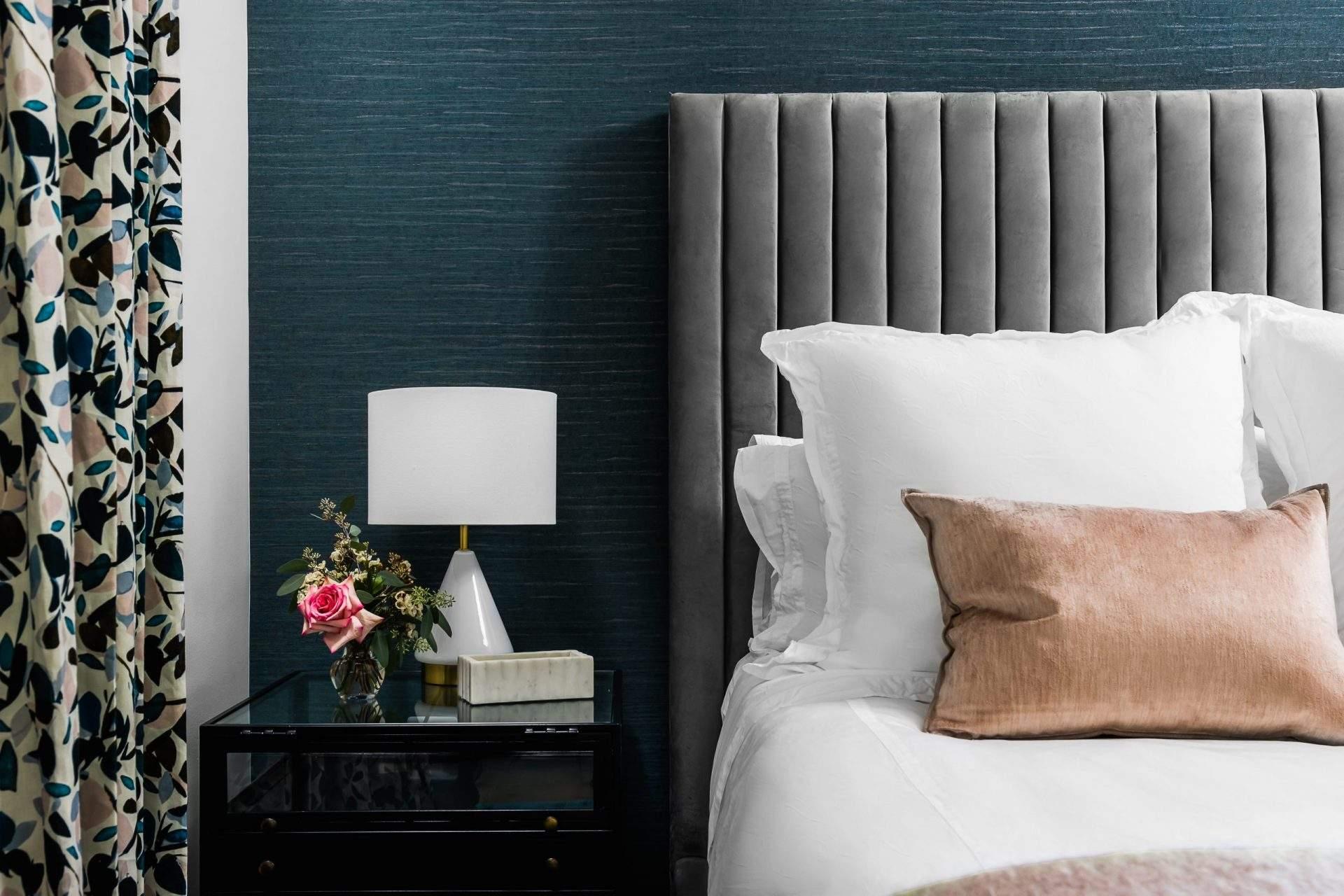 Interior Design, Gray Bed with Pink Pillows, Etch Interior Design, Austin, Texas