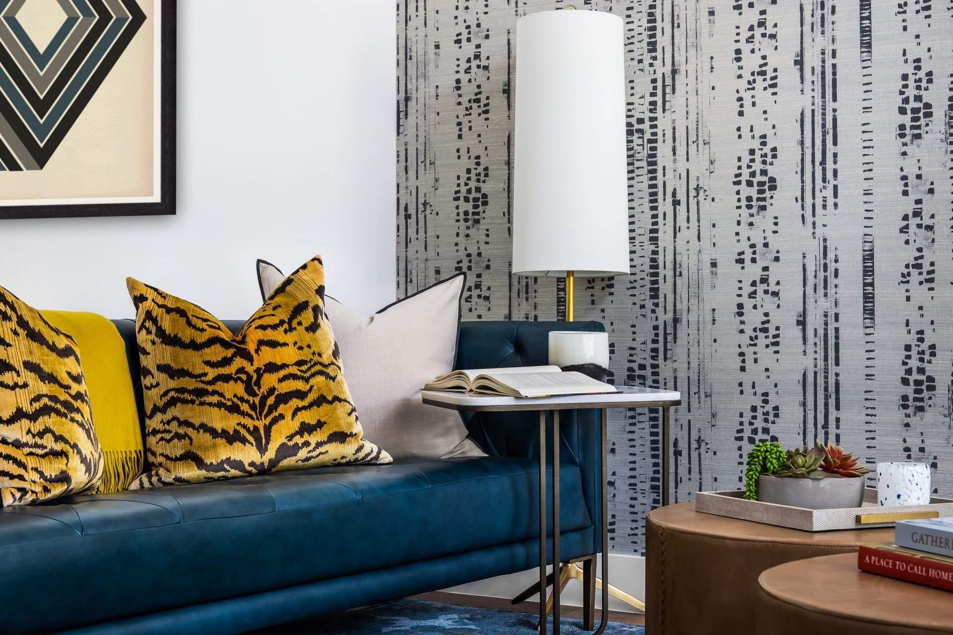 Home Interior Design, Blue Sofa with Tiger Print Throw Pillow, Etch Interior Design, Austin, Texas