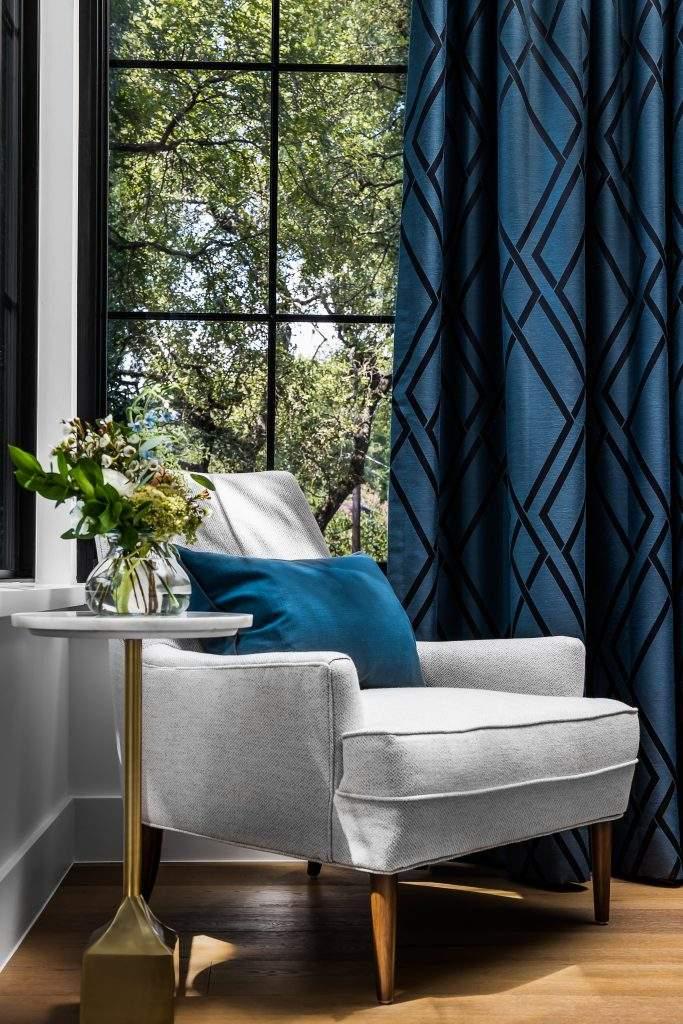 Bedroom Interior Design, Gray Accent Chair by window, Etch Interior Design, Austin, Texas