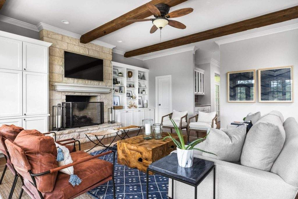 Living Room Interior Design, Fireplace with Built In Cabinets, Etch Interior Design, Austin, Texas