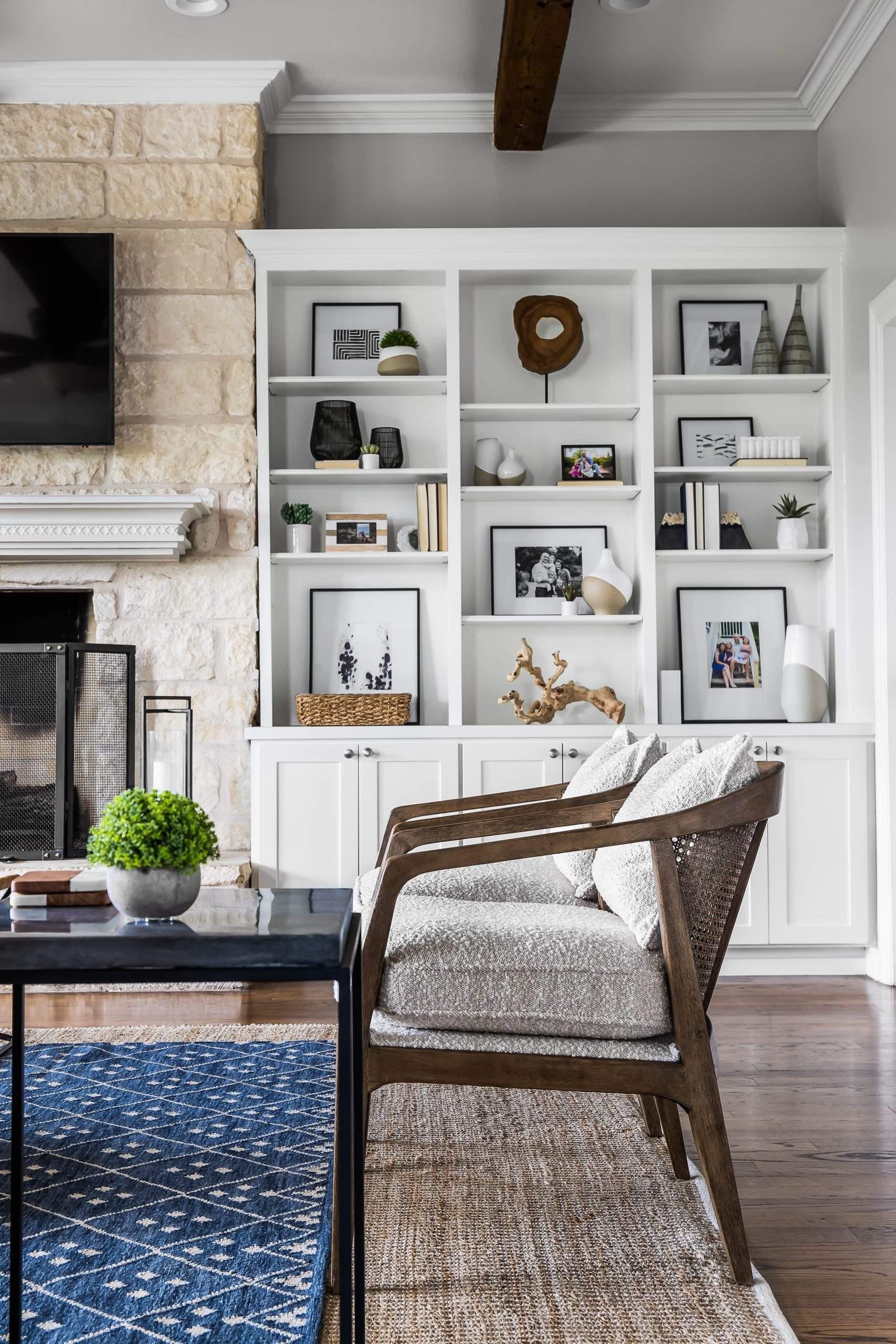 Interior Design, White Built In Bookcase, Etch Interior Design, Austin, Texas