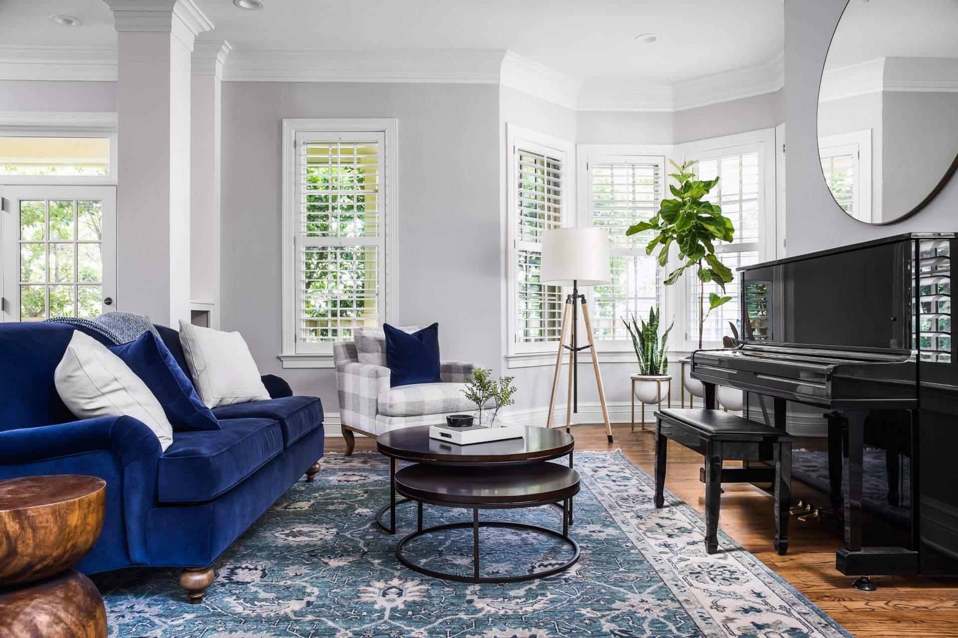 Home Interior Design, Bright Living Room with Blue Sofa, Etch Interior Design, Austin, Texas