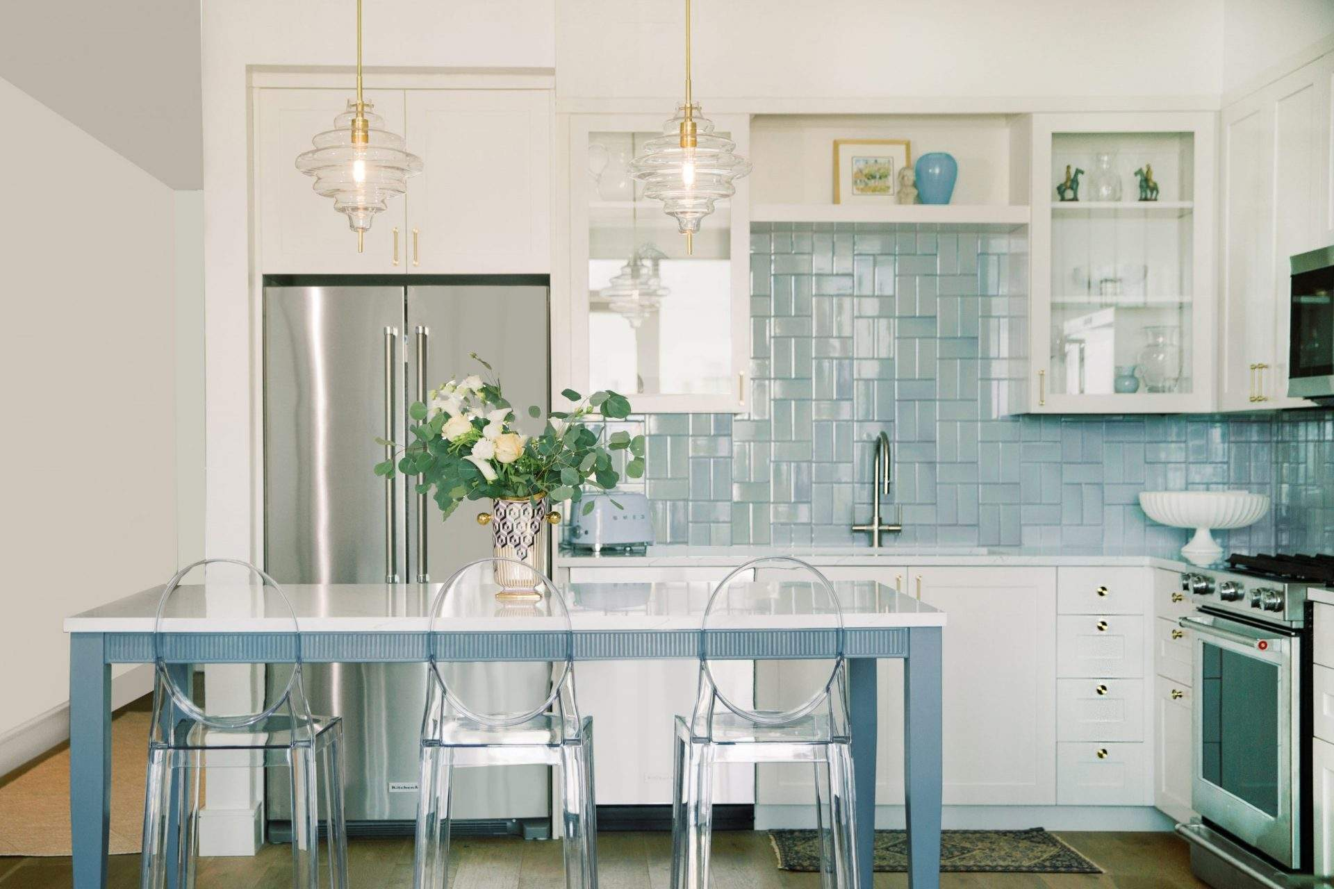 Kitchen Interior Design, Blue and White Kitchen Makeover, Etch Interior Design, Austin, Texas