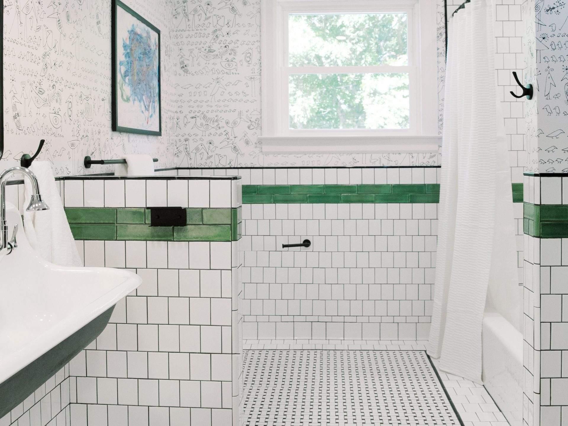 Bathroom Interior Design, White Tile with Green Border, Etch Interior Design, Austin, Texas
