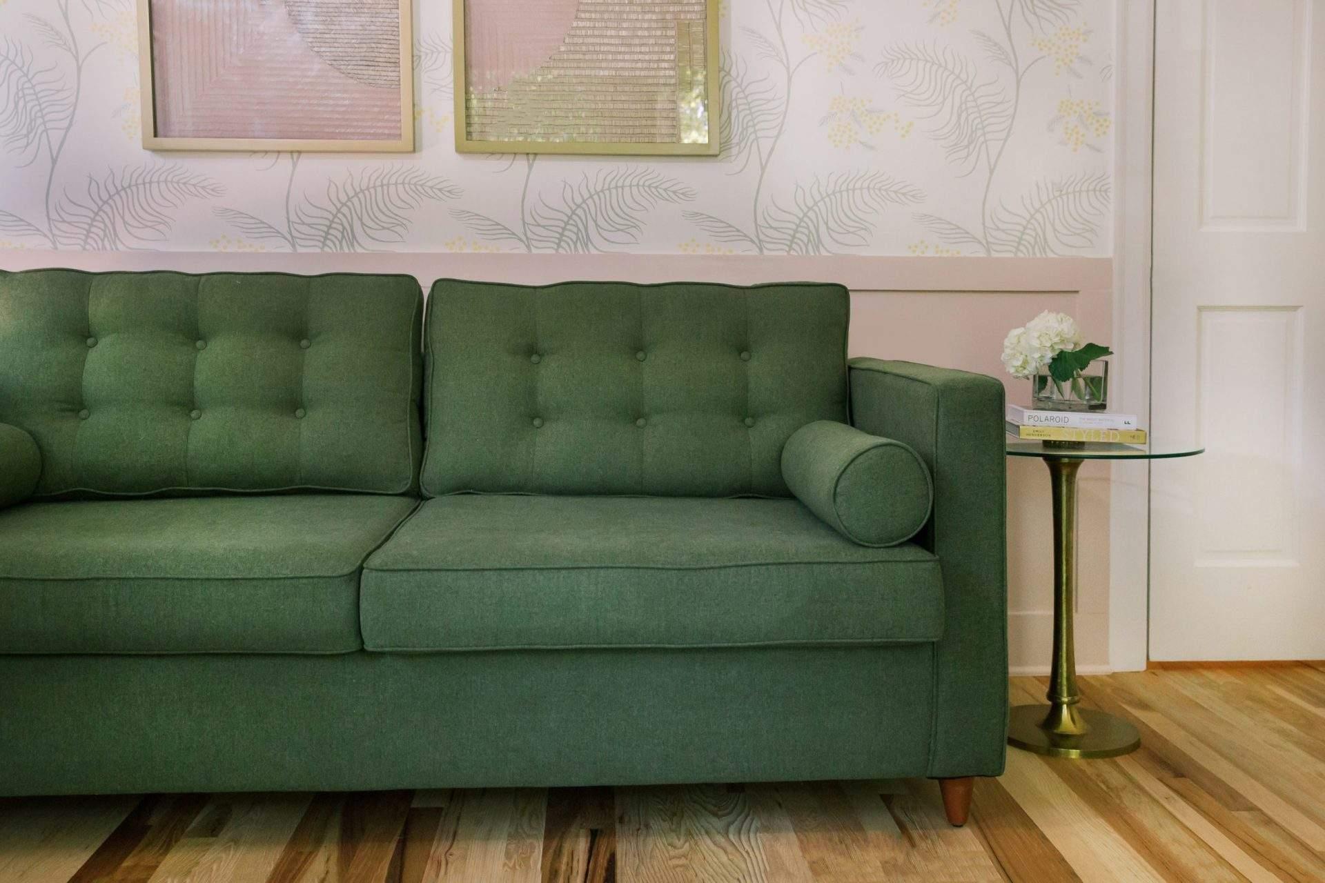 Office Interior Design, Green Sofa, Etch Interior Design, Austin, Texas