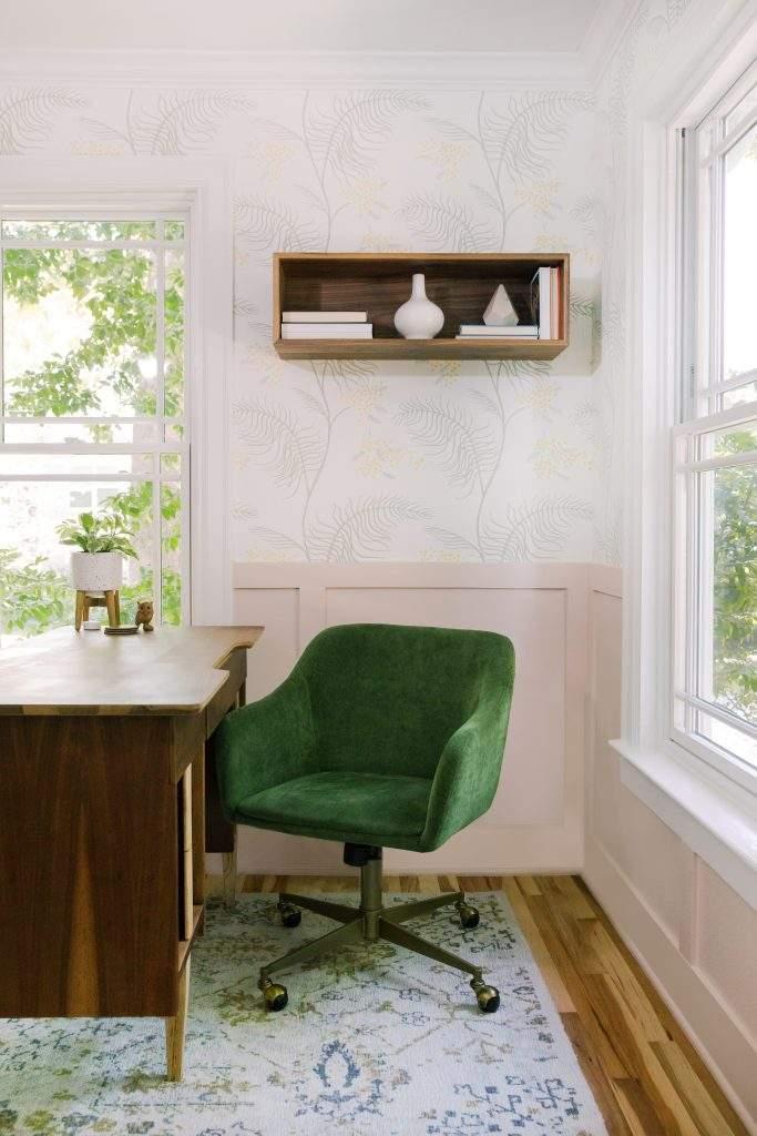 Office Interior Design, Desk with Green Chair, Etch Interior Design, Austin, Texas