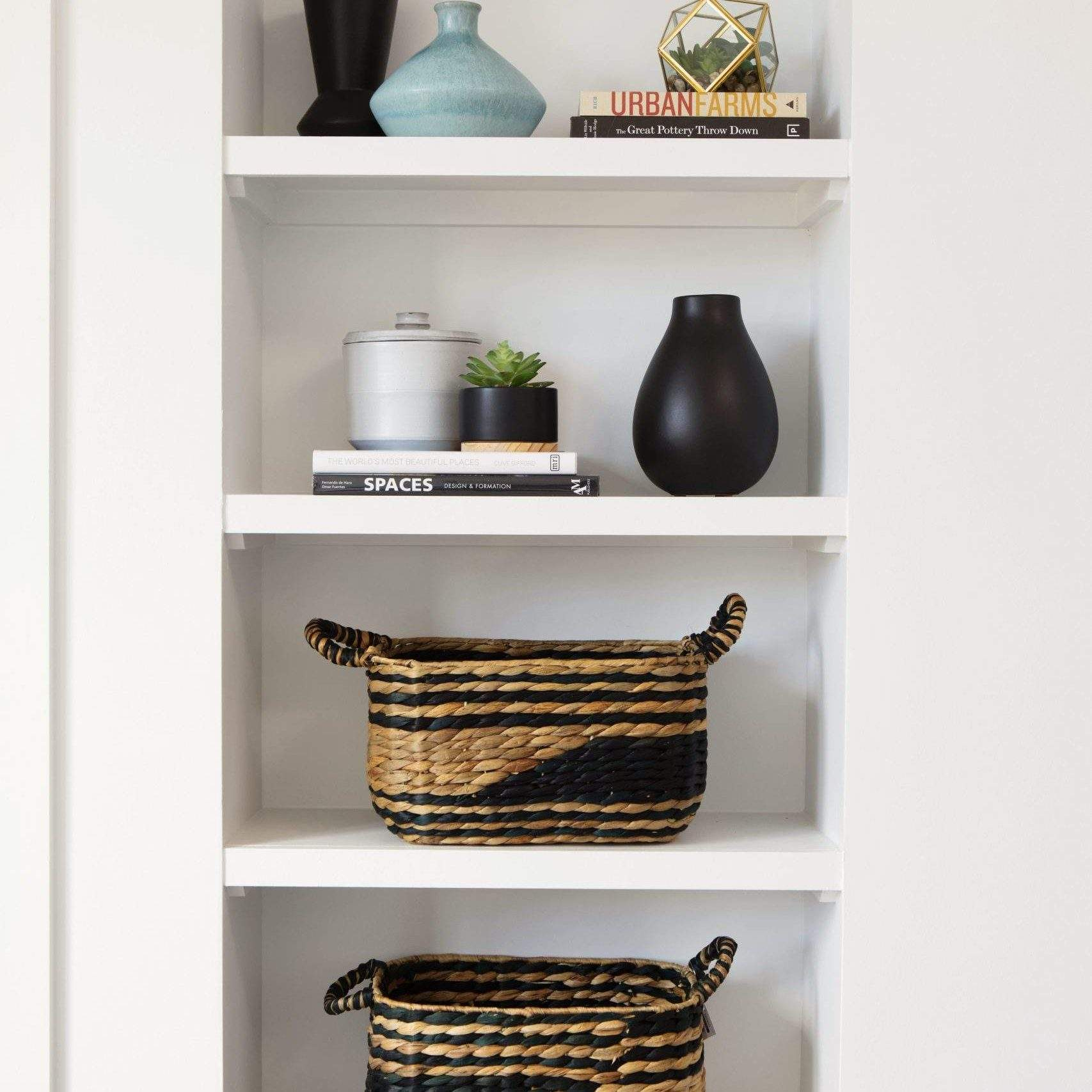 travis heights | built in shelves with baskets and vases | austin, texas
