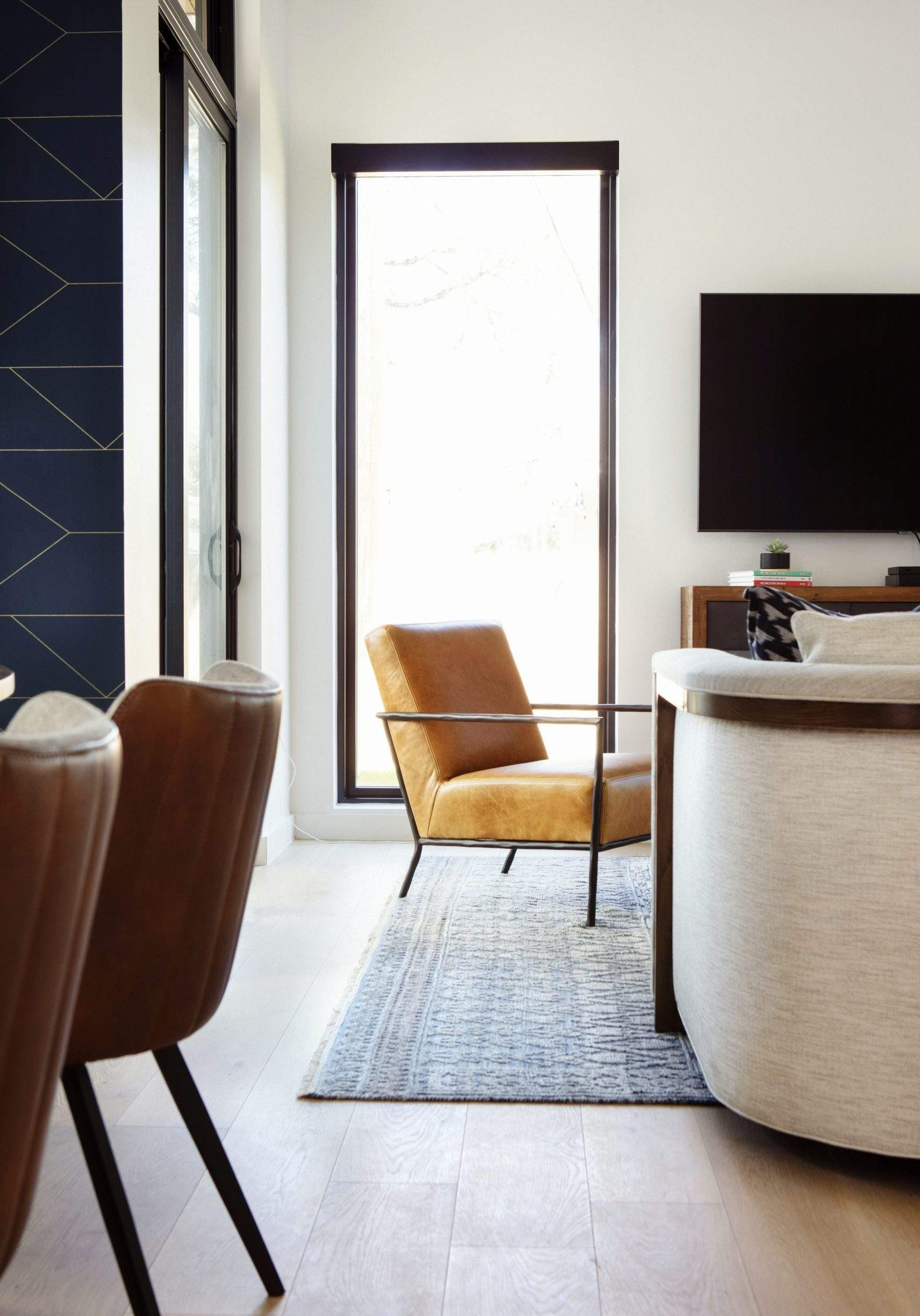 Interior Design, Floor to Ceiling window with leather accent chair, Etch Interior Design, Austin, texas